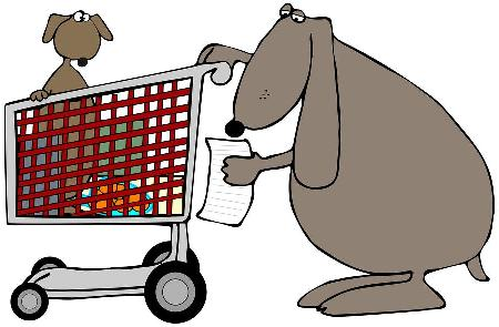 Graphic of dog with shopping cart